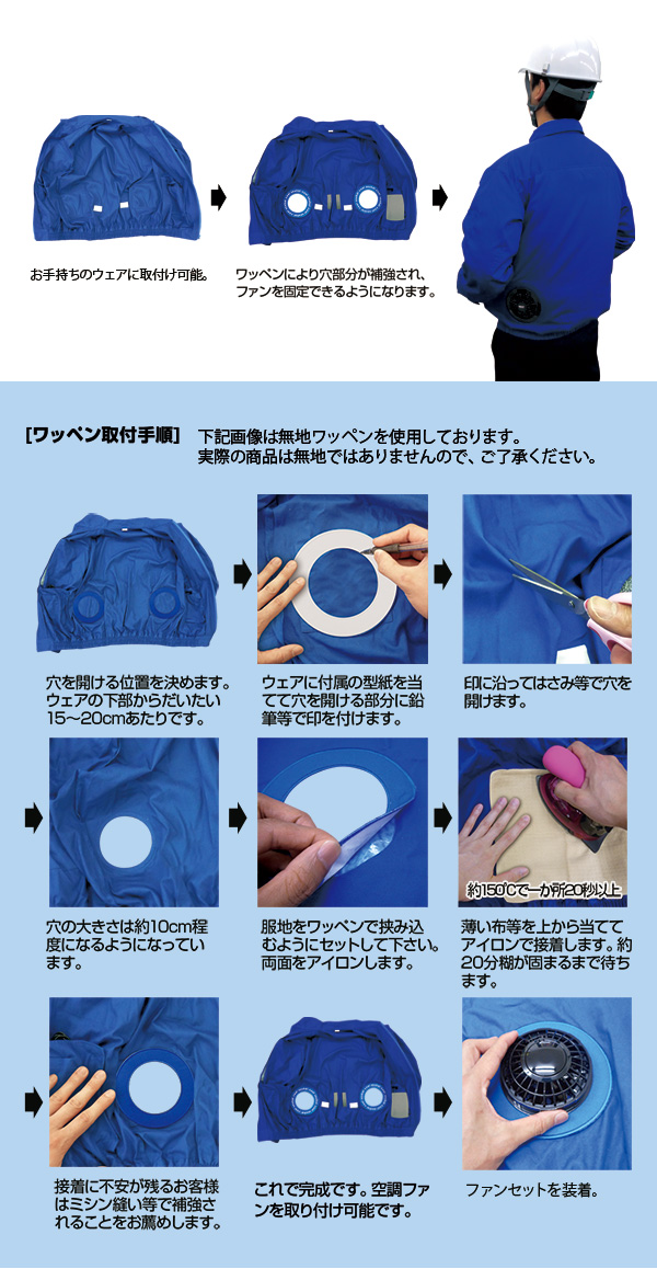 空調ウェア 自作キット�(ワッペン・ポケット・ループ+ファンユニット)